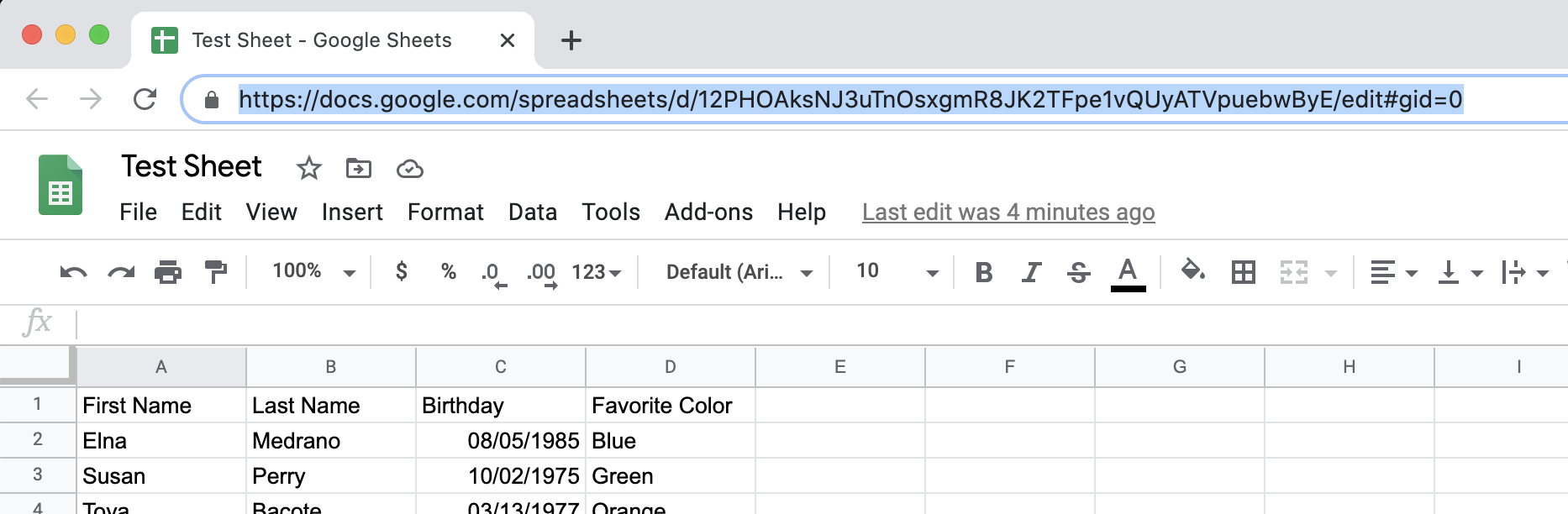 Find the Google Sheet url